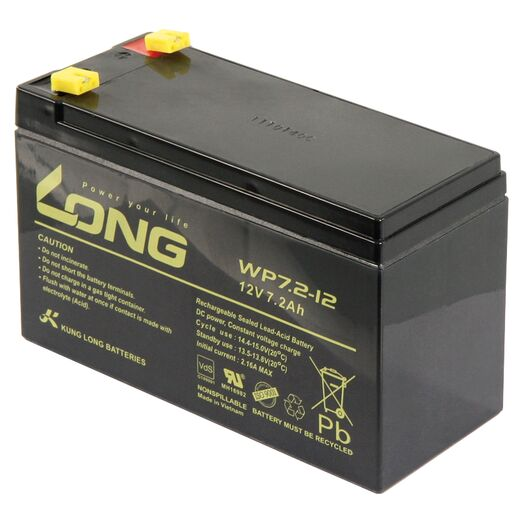 Bleiakku KUNG LONG WP7,2-12 12V/7,2Ah, VdS, 151x65x102mm, 2,67kg