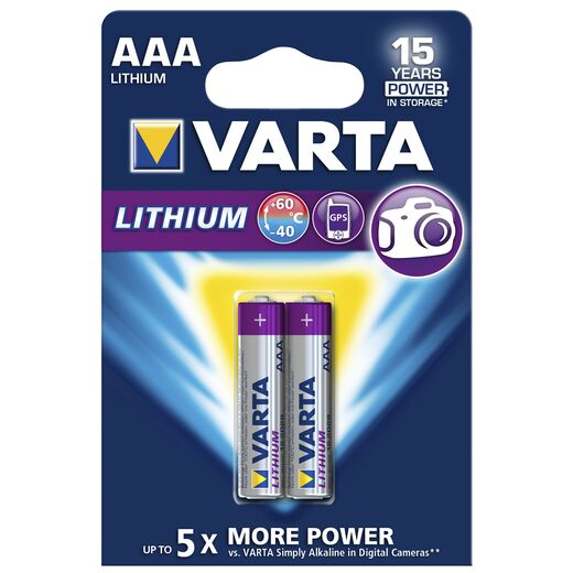 Micro-Batterie VARTA Professional Lithium, Typ AAA/6103, 2er-Blister